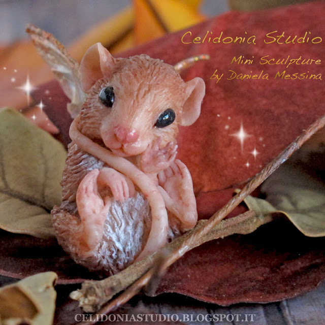 Walnut Fairy Mouse sculpted from polymer clay
