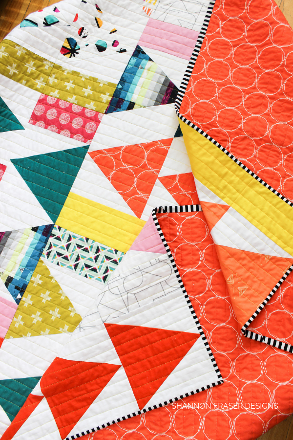 Geometrical Flight Plan Quilt | Modern Quilt Pattern | Shannon Fraser Designs #trianglequilt