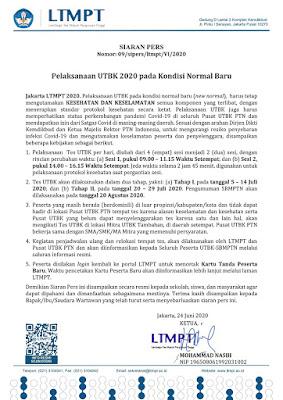 Pelaksanaan UTBK 2020 Pada Kondisi Normal Baru