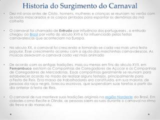 Historia do Surgimento do Carnaval