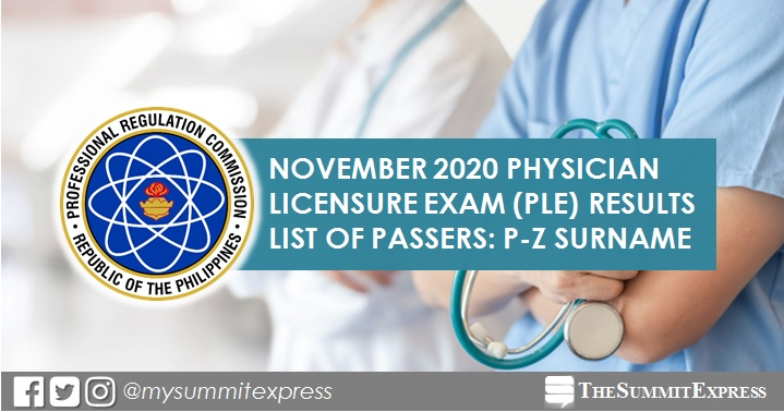 P-Z Passers: November 2020 PLE Medicine board exam result