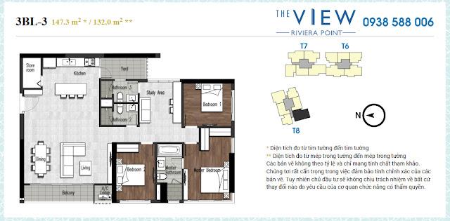 Bán căn hộ 3 phòng ngủ lớn (3PN 3BL) 147m2, 148m2 dự án The View Riviera Point nhà thô, tháp 6, 7, 8.