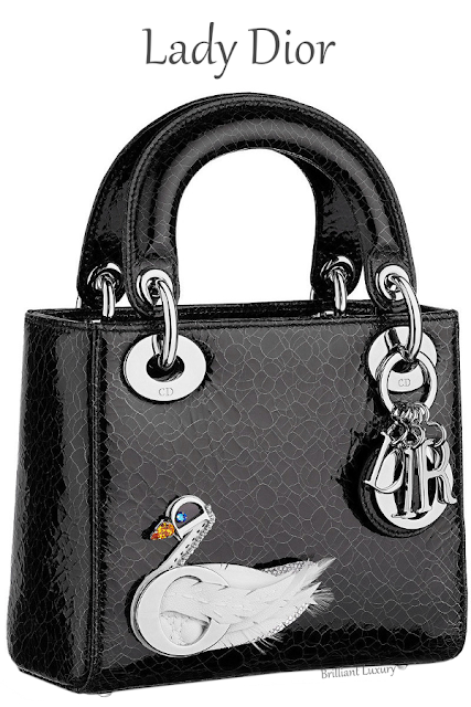 Mini Lady Dior bag in black crackled deerskin embroidered with jewelled swan #brilliantluxury