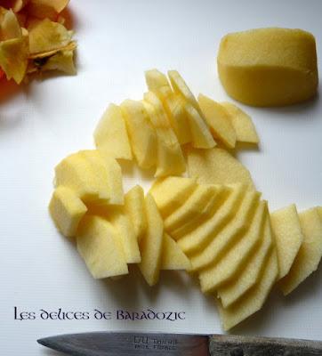 pomme coupée en fines tranches