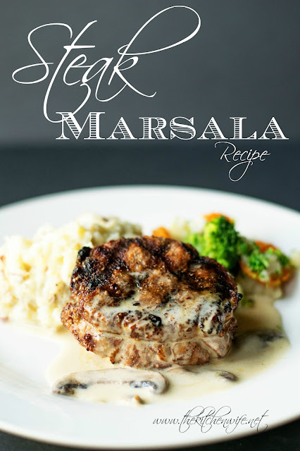A picture of the steak Marsala on a plate with mashed potatoes and steamed vegetables.