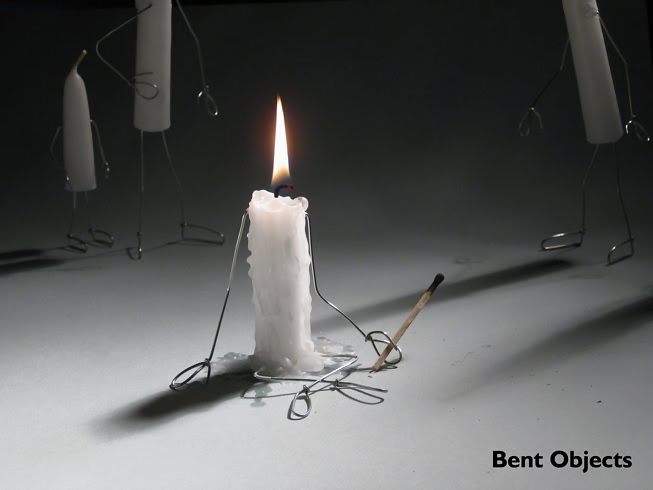 Candle burning, self-immolation, by Terry Border, Bent Objects