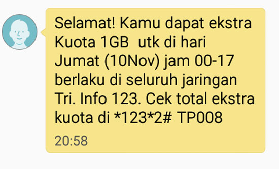 TRI membuktikan Janjinya. SMS Notifikasi saya mendapat 1 GB di hari Jumat 10 Nopember 2017.   Gambar dari Android