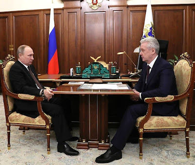 Vladimir Putin with Moscow Mayor Sergei Sobyanin.