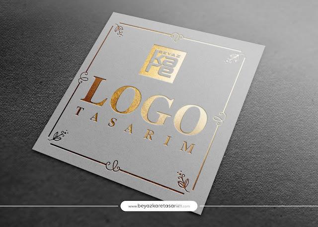 3D logo tasarımı kağıt gold davetiye