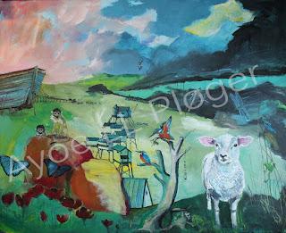 Noahs ark, farver, dyr, kunst, art, colours, får, sheep, rain, regn, storm, kunst, maleri