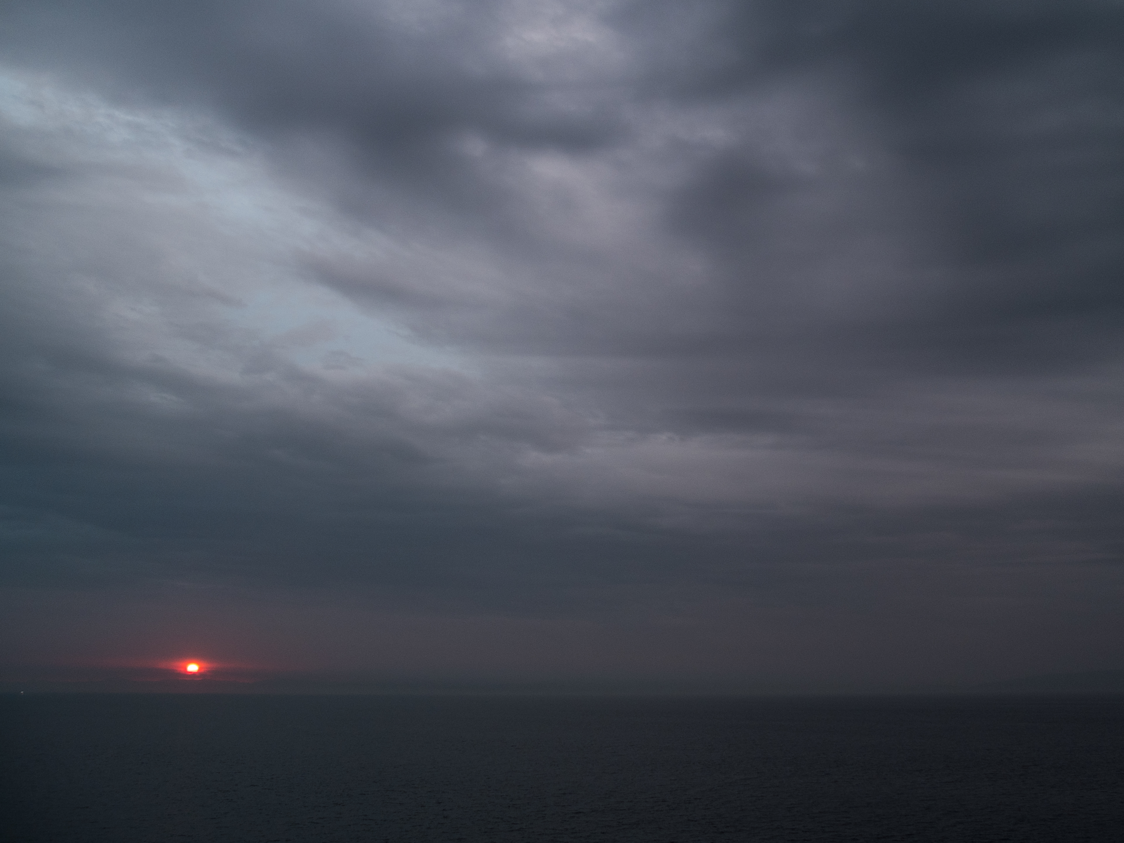 Sun rising over Africa from the Strait of Gibraltar.