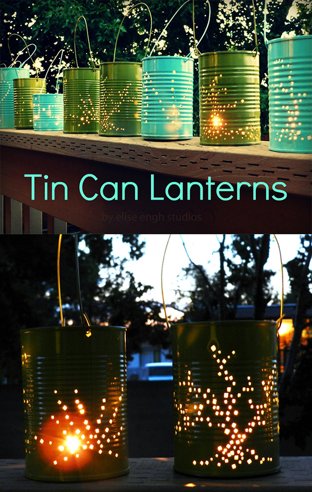 Tin Can Lanterns Tutorial by Elise Engh Studios
