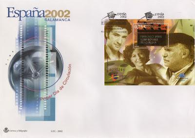 Sobre PDC del Sello dedicado al cine en la exposición mundial de filatelia de 2002
