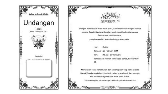 Download Contoh Surat Undangan Tahlil
