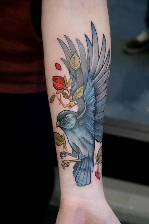 floral cute bird tattoo sevimli kuş dövmesi çiçekli