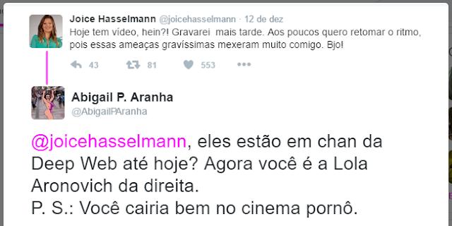 Abigail Pereira Aranha zoando no perfil da Joice Hasselmann no Twitter