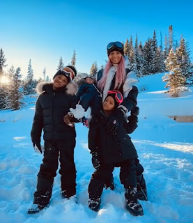 Russel's wife Ciara and his kids