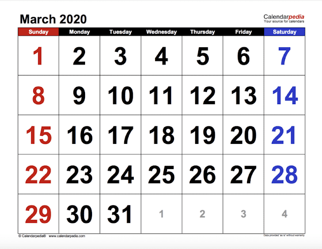 Calendario de marzo 2020 de mesa