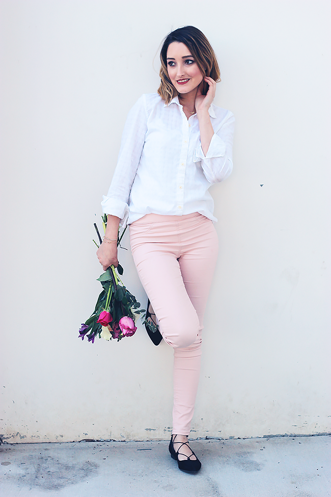 Valentine's Day Outfit: White Blouse + Pink Skinny Pants + Lace Up Flats