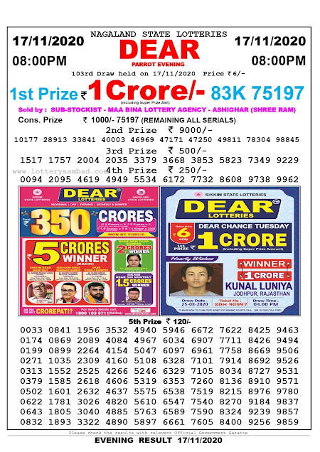 Lottery Sambad 17-11-2020 Today Results 8:00 pm, Nagaland State Lottery Sambad Today Result 8 pm, Sambad Lottery, Lottery Sambad Live Result Today