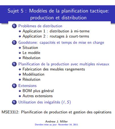 Modèles de la planification tactique: production et distribution en pdf gratuitement