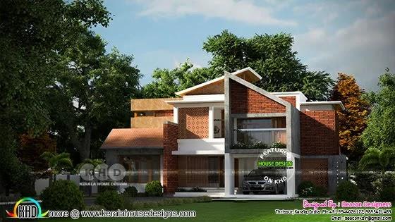 Slanting roof mix Kerala traditional home design