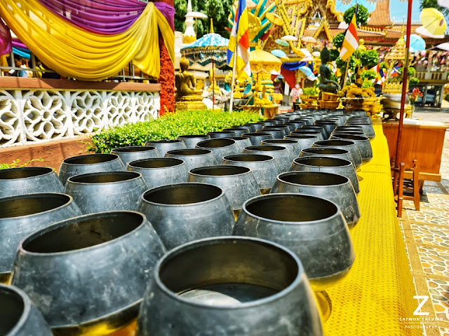 Donation bowls at the temple