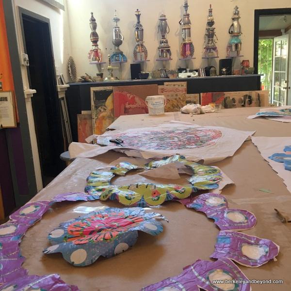 paper collage work of artist Douglas DeVivo in Blue Door Gallery Studios in Guerneville, California