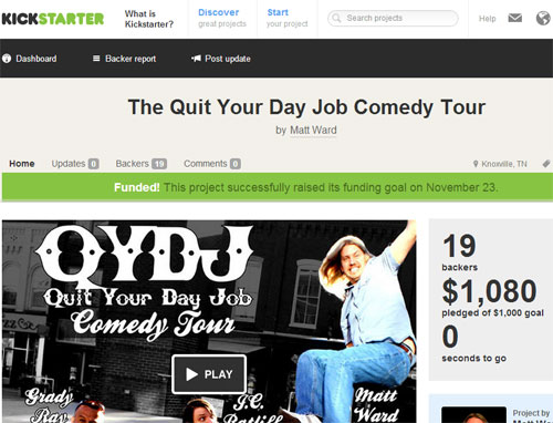 How I Used Kickstarter to Help Fund My Comedy Tour - Matt Ward