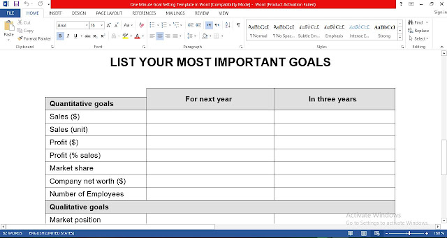 One Minute Goal Setting Template in Word