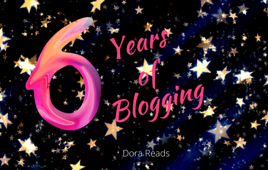 '6 Years of Blogging' written haphazardly against a starry background
