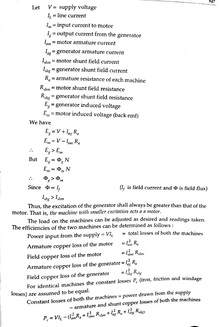 Calculation of the Efficiency of the Machine by Hopkinson's Test