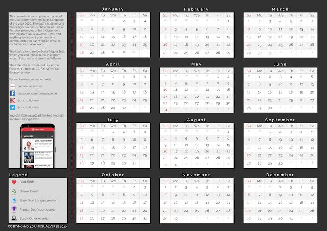 Deaf Calendar Year 2020