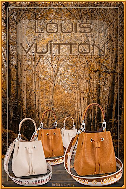 Louis Vuitton NéoNoé BB bucket bags in quartz and gold miel with embroidered Jacquard strap #bags #louisvuitton #brilliantluxury