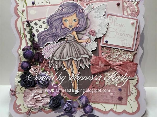 A Girly Card Featuring Sugar Plum Fairy Autumn Rose