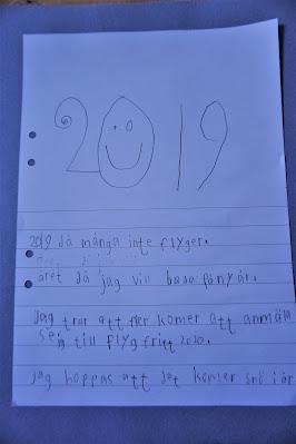 En text som Olle skrivit i skolan om sina tankar inför 2019.