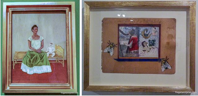 """Obras de Frida Kahlo: """"Autorretrato com Cama"""" e """"Colagem com Duas Moscas"""""""