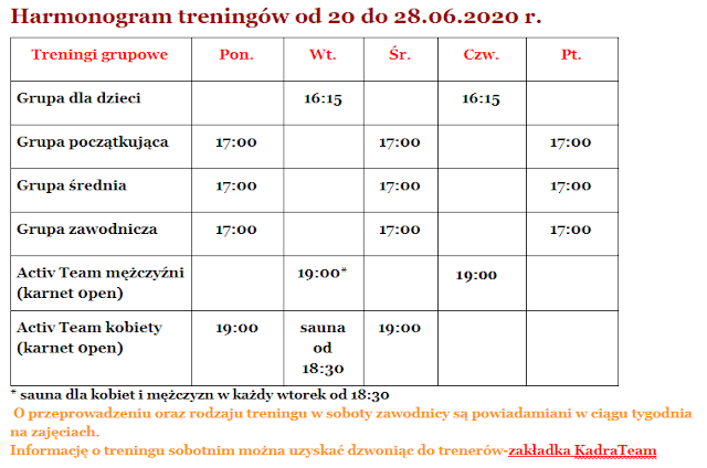 Harmonogram, treningi, Zielona Góra, Dworcowa 31