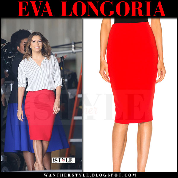 Eva Longoria in red pencil skirt and white striped shirt on the ...