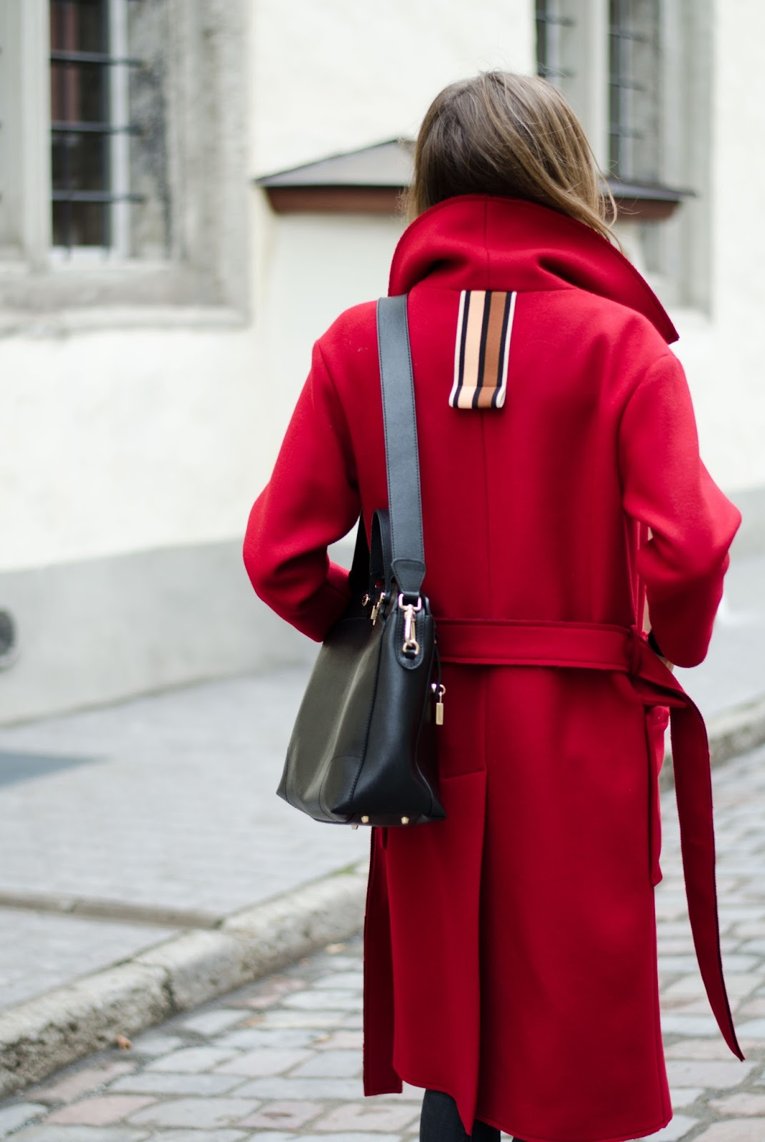 oversized red wool coat