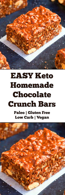 EASY Keto Homemade Chocolate Crunch Bars (Paleo, Vegan, Low Carb, Gluten Free and Dairy Free) #easy #keto #chocolate #homemade #crunch #bars #easydessert #ketobars #paleo #vegan #lowcarb #glutenfree #ketodessert