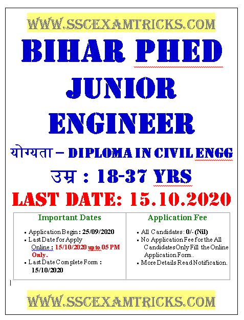 Bihar PHED Admit Card