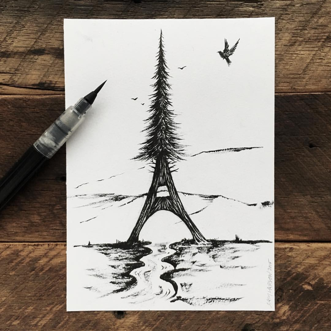 01-Eiffel-Tower-Tree-Sam-Larson-Injection-of-Inspiration-in-Diverse-Drawings-www-designstack-co