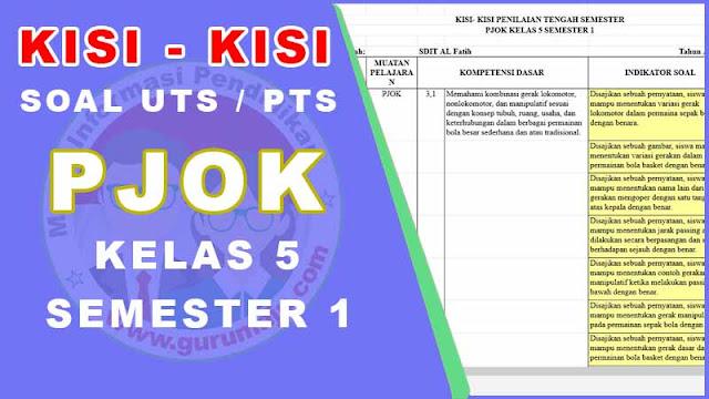 Kisi-Kisi Soal UTS / PTS PJOK Kelas 5 Semester 1 K13 Revisi
