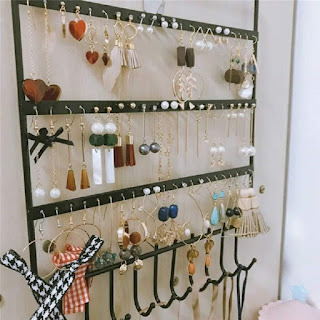 IS IMAGING SOLUTIONS Metal Jewellery Display Stand with 10 Hanging Hooks and 57 Earing Holes (Multicolour)