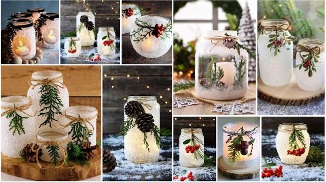 Πως θα φτιάξετε ...Xιονισμένα Χριστουγεννιάτικα Βάζα - Κηροπήγια