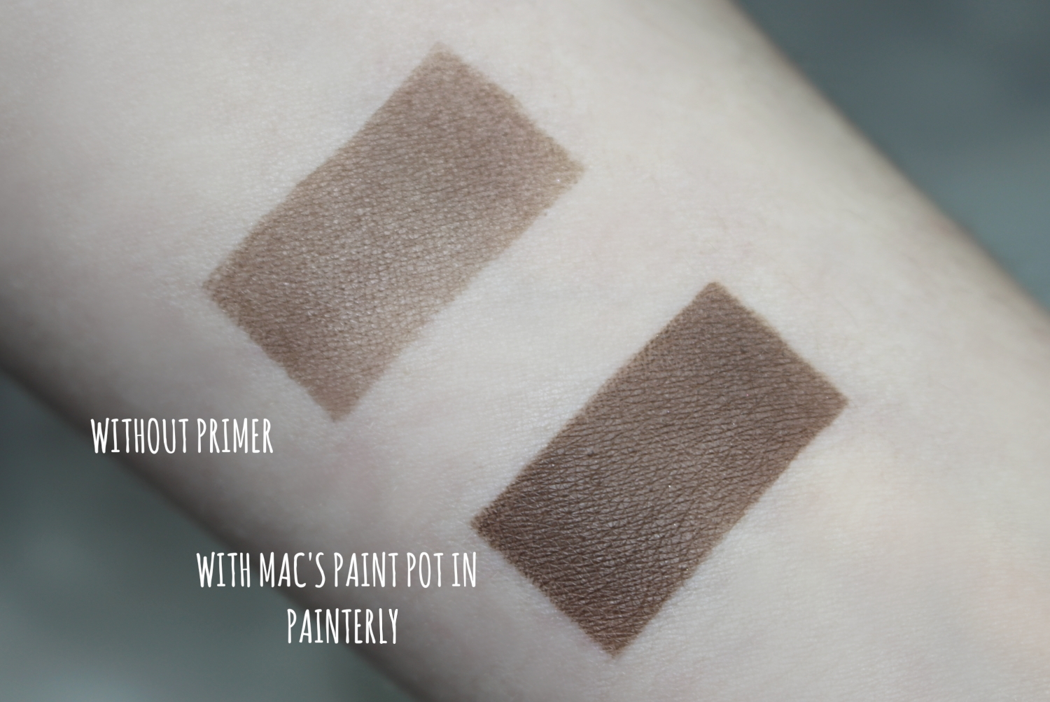 eyeshadow swatch with and without eyeshadow primer/comparison