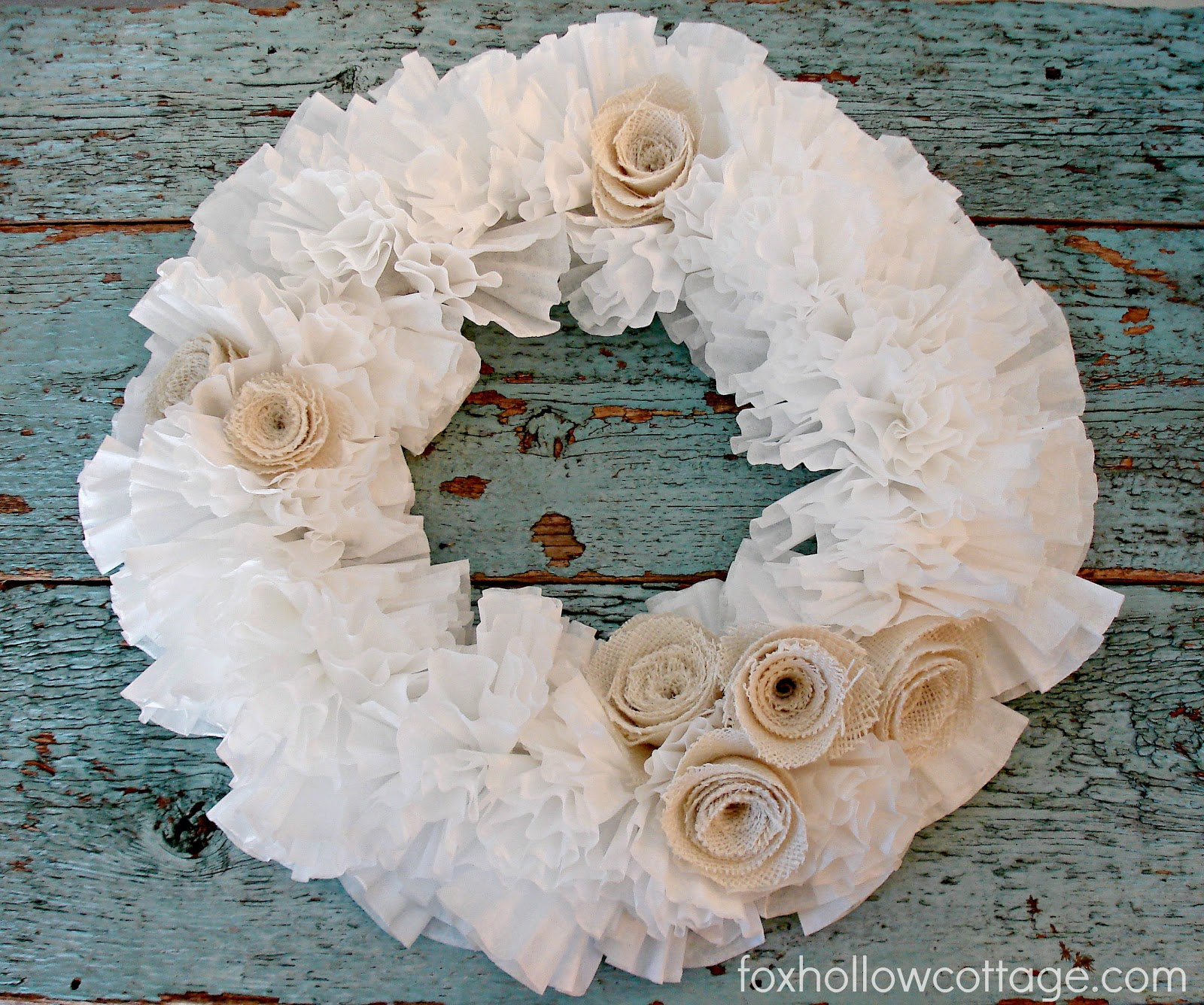 How To Make A Coffee Filter Wreath {with burlap roses}