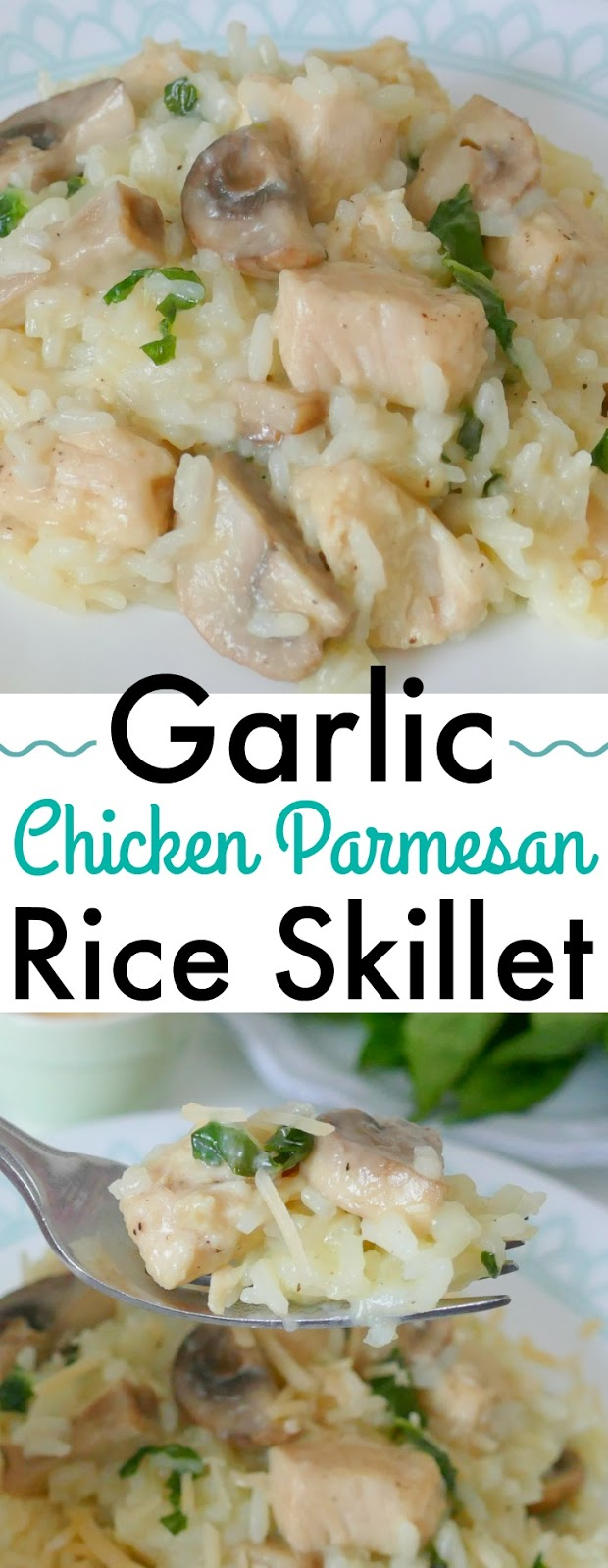 This easy and delicious weeknight dinner idea is ready in less than 30 minutes! It combines chicken breast, jasmine rice, shredded parmesan cheese, white mushrooms and basil for a tasty one pan meal!