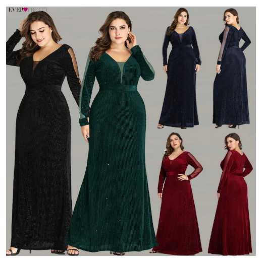 Women Evening Dresses Plus Size Long Sleeve Elegant Sparkle Mermaid Velvet